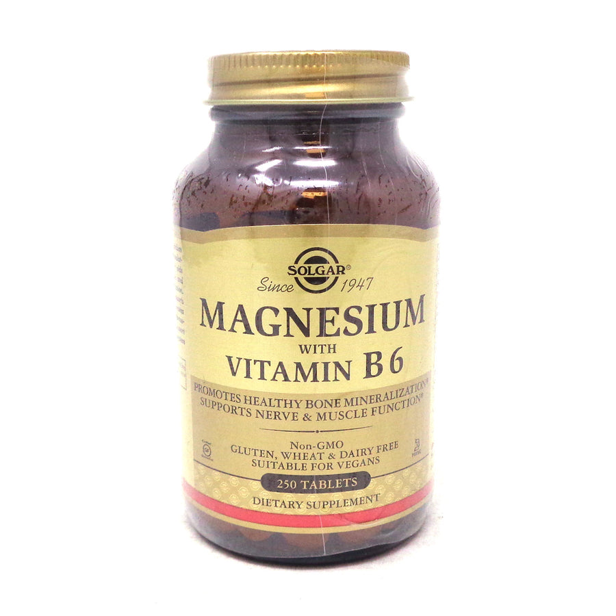 Magnesium with Vitamin B-6 Tablets  By Solgar - 250 Count