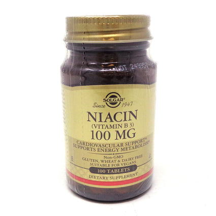 Niacin 100 mg Tablets (Vitamin B3)  By Solgar - 100 Count