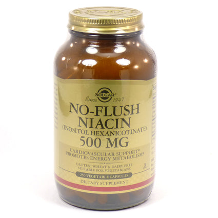 Solgar No-Flush Niacin 500 mg Vegetable Capsules - 250 Count