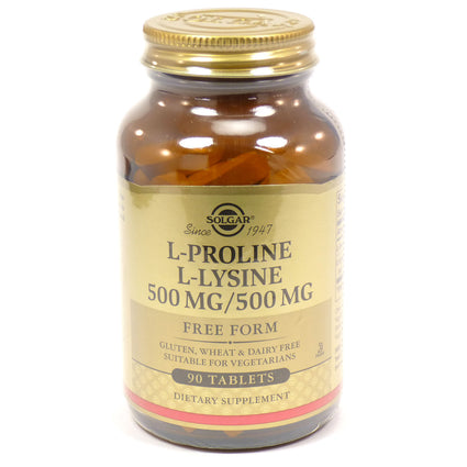 Solgar L-Proline/L-Lysine Tablets (500/500 mg)  - 90 Count