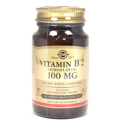 Solgar Vitamin B2 100 mg Vegetable Capsules (Riboflavin)   - 100 Count