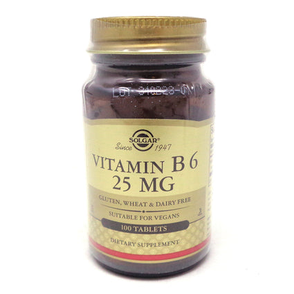 Vitamin B6 25 mg Tablets  By Solgar - 100 Count
