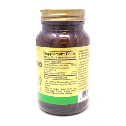 FP Super Ginkgo Vegetable Capsules By Solgar - 120 Count
