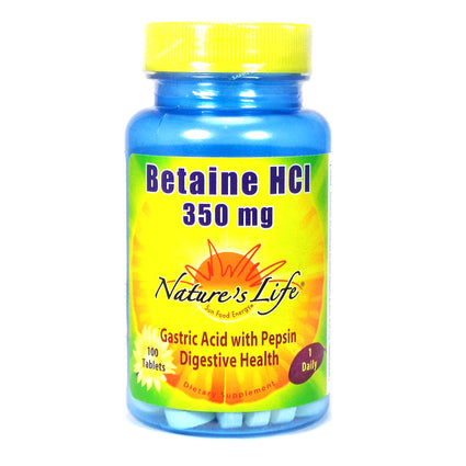 Betaine HCL 350 mg 350 mg By Nature's Life - 100  Tablets