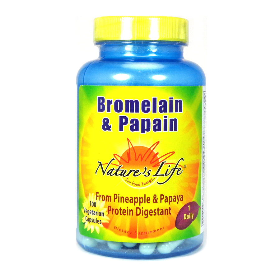 Bromelain & Papain By Nature's Life - 100  Vegetable Caps