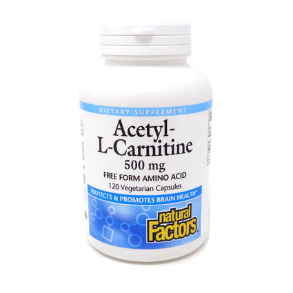 Natural Factors Acetyl-L-Carnitine 500 mg-120 Vegetarian Capsules