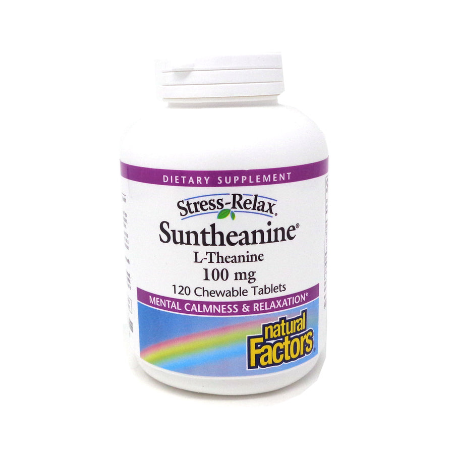 Natural Factors Stress-Relax Suntheanine L-Theanine 100 mg -120 Chewable Tablets