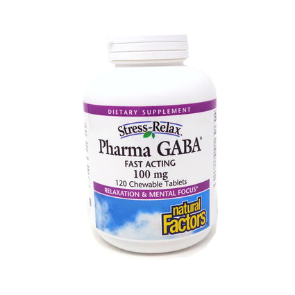 Natural Factors Stress-Relax Pharma GABA 100 mg-120 Chewable Tablets