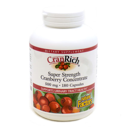 CranRich Cranberry 500mg By Natural Factors - 180 Capsules