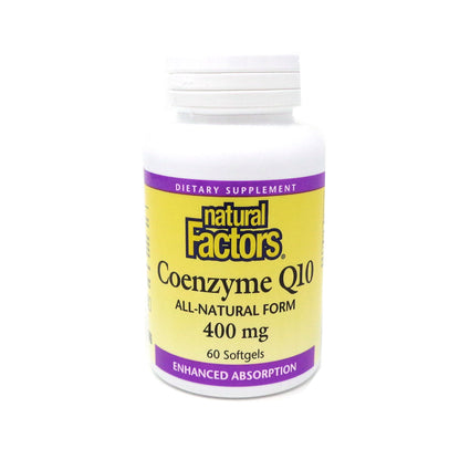 Natural Factors Coenzyme Q10 400mg (in a base of rice bran oil)-60 Softgels