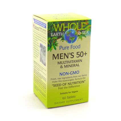 Pure Food Men's 50+ Multi By Natural Factors Whole Earth and Sea - 60 Tablets