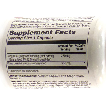 Dong Quai Root Extract 250 mg By Solaray - 60  Capsules