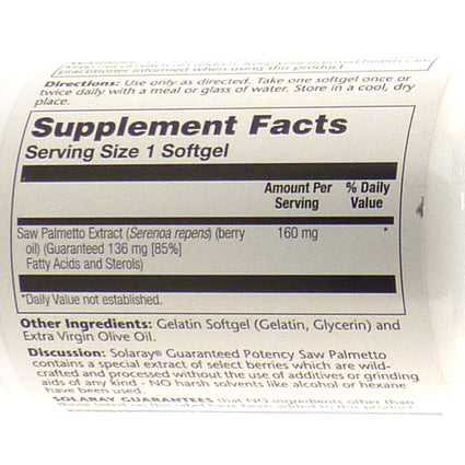 Saw Palmetto Berry Extract 160 mg By Solaray - 60 Softgels
