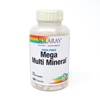 Mega Multi Mineral Iron-Free By Solaray - 200 Capsules Multivitamin