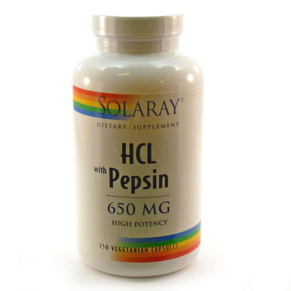 HCL with Pepsin by Solaray - 250 Capsules