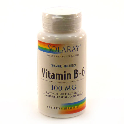 Vitamin B-6 100 mg Two-Stage Timed Release by Solaray - 60 Capsules