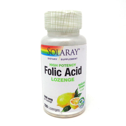 Solaray Folic Acid Lozenge Lemon (Btl-Plastic) 1000mcg 100ct