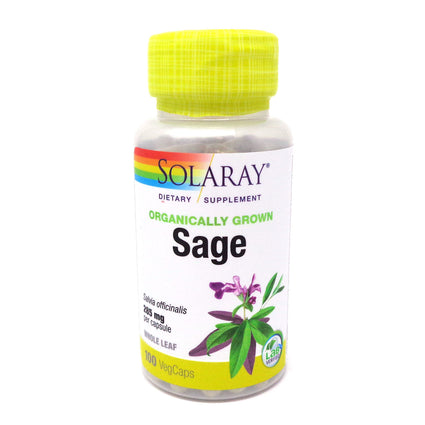 Sage Leaf Organic By Solaray - 100 Vcaps