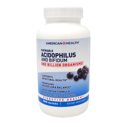 Chewable Acidophilus Blueberry By American Health - 100 Wafers