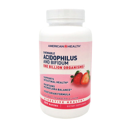 Chewable Acidophilus With Bifidus - Strawberry by American Health 100 Wafers
