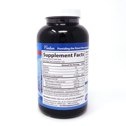 Super Omega 3 Fish Oil by Carlson - 250 Softgels