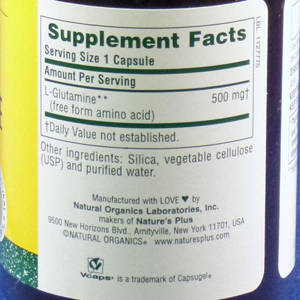 L-Glutamine 500mg By Nature's Plus - 60 Capsules