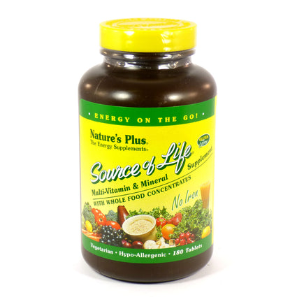 Source of Life No Iron by Nature's Plus 180 Capsules