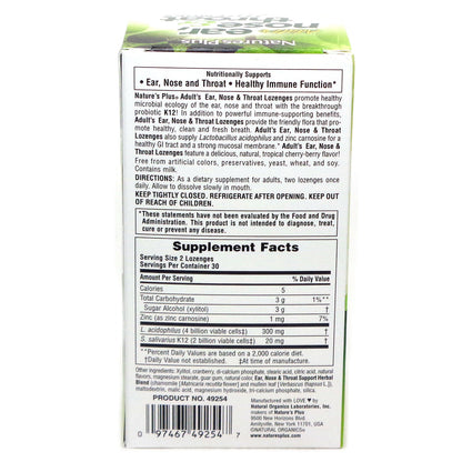Adults Ear Nose Throat Lozenges By Nature's Plus - 60 Lozenges
