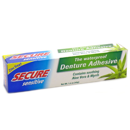 Dentek Secure Sensitive Waterproof Denture Adhesive with Aloe and Myrrh 1.4 Oz