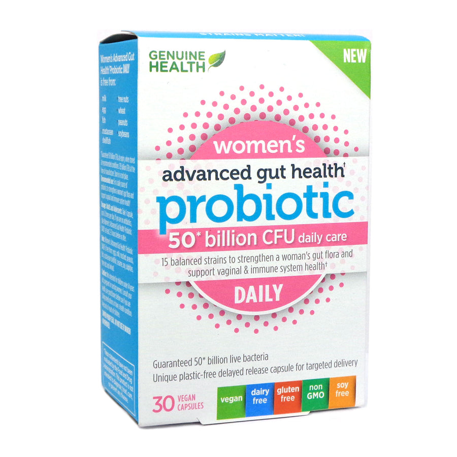 Genuine Health Women's Advanced Gut Health Probiotic Daily 50 Billion - 30 Caps