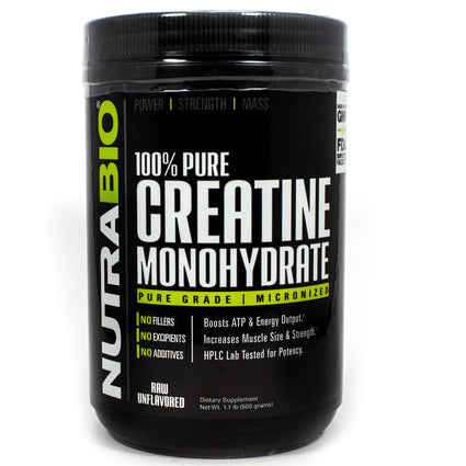 Pure Creatine Monohydrate Unflavored by NutraBio - 100 Servings