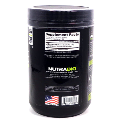 Pure Glutamine Raw Unflavored  by NutraBio - 100 Servings