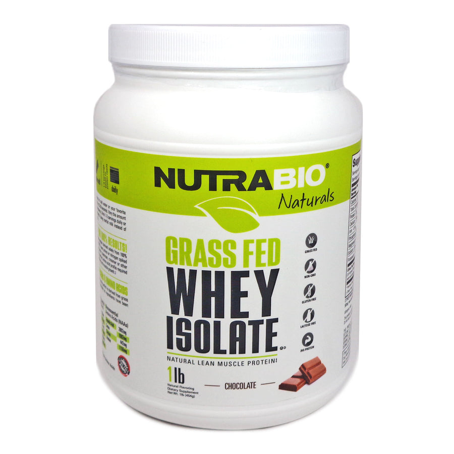 Grass Fed Whey Isolate Chocolate - 1 Lb by NutraBio