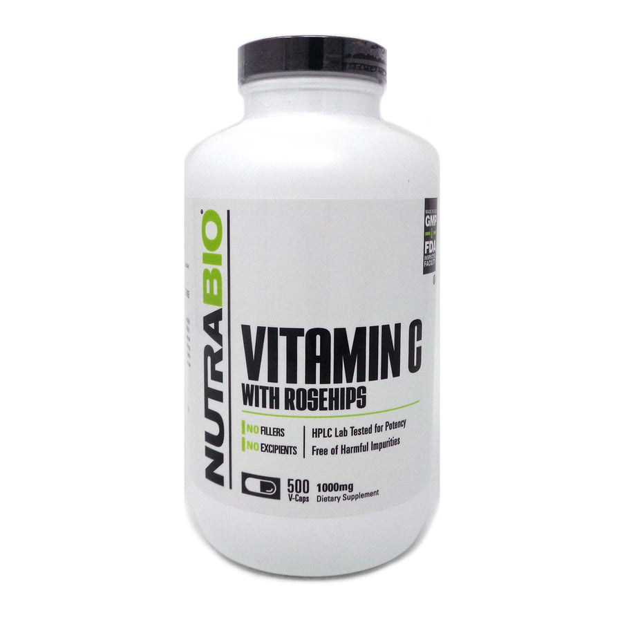 Vitamin C with Rose Hips by NutraBio - 500 Capsules