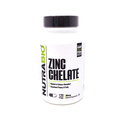 NutraBio Chelated Zinc (30mg) - 120 Veggie Caps