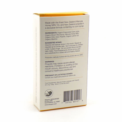 Manuka Honey Lozenges By Pacific Resources - 20 Lozenges