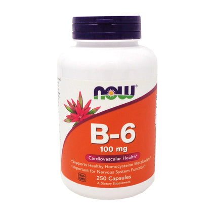 Vitamin B-6 100mg By Now Foods - 250 Capsules
