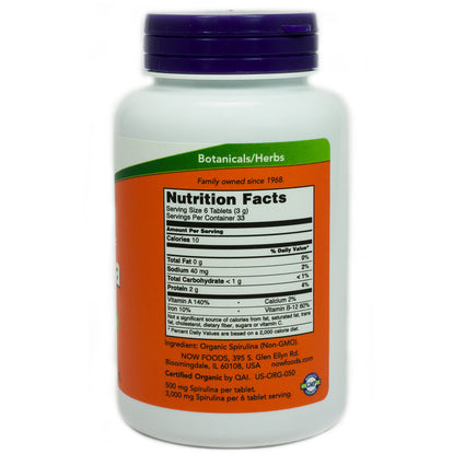 Spirulina 500 mg By Now Foods - 200 Tablets