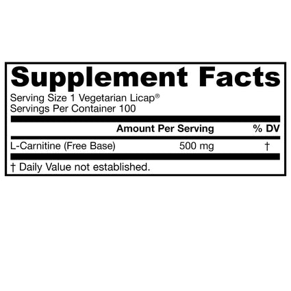 L-Carnitine 500mg by Jarrow - 100 Liquid Capsules