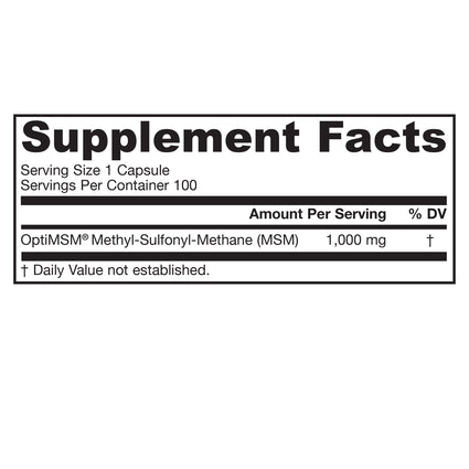 MSM Sulfur 750 mg by Jarrow  Formulas - 100 Capsules