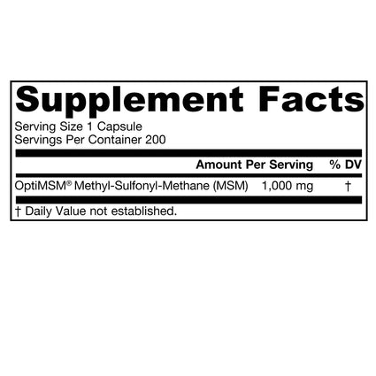 MSM Sulfur 1000 mg by Jarrow 200 Capsules