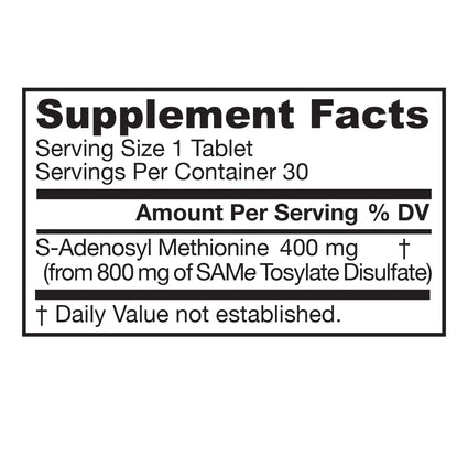 SAM-e 400 mg by Jarrow 30 Tablets