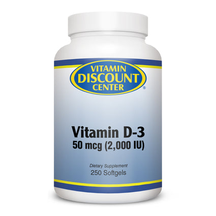 Vitamin D-3 2000 iu By Vitamin Discount Center - 250 Softgels