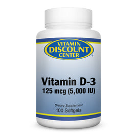 Vitamin D-3 5000 iu By Vitamin Discount Center - 100 Softgels