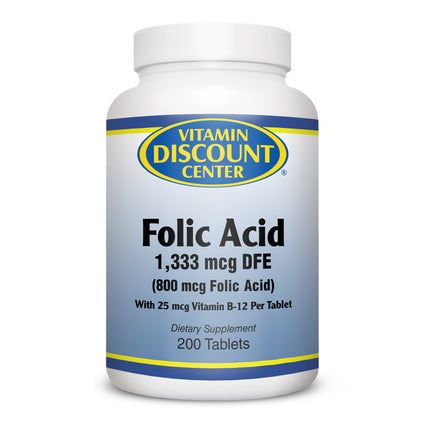 Folic Acid 800mcg by Vitamin Discount Center -  200 Tablets