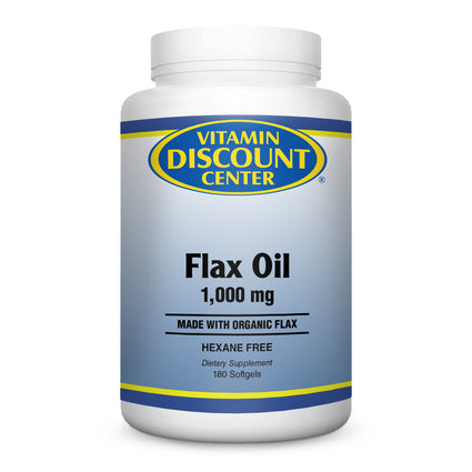 Organic Flax Oil 1000mg by Vitamin Discount Center - 180 Softgels