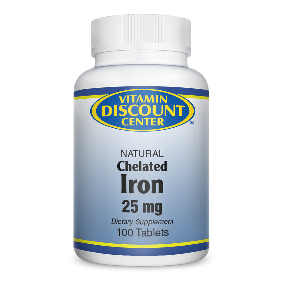 Natural Chelated Iron 25 mg by Vitamin Discount Center 100 Tablets