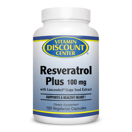 Resveratrol Plus 100mg By Vitamin Discount Center - 120 Vegetarian Capsules