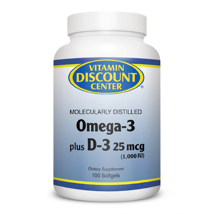 Omega-3 Plus D-3 1000 iu By Vitamin Discount Center - 100 Softgels
