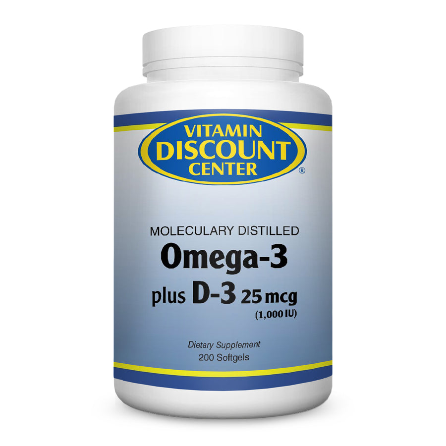 Omega-3 plus D-3 1000 IU by Vitamin Discount Center - 200 Softgels